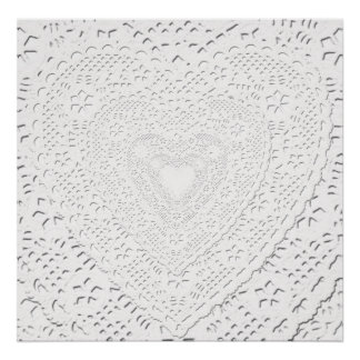 Faux White Lace Fabric Background Poster