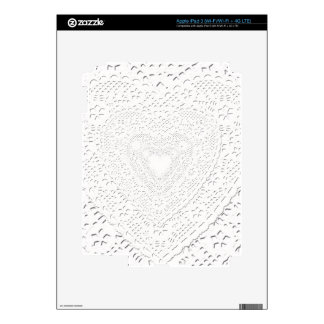 Faux White Lace Fabric Background Skin For iPad 3