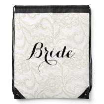 FAUX White Lace Wedding Bridal Drawstring Bag
