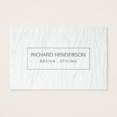 Faux White Leather Simple Plain Minimal Modern Business Card at Zazzle