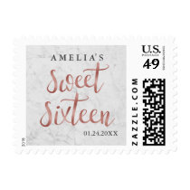 Faux White Marble Rose Gold Sweet Sixteen Stamp