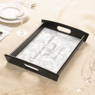 Faux White Marble Wedding Serving Tray