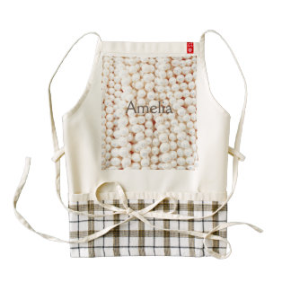Faux,white,pearls,chic,elegant,girly,pattern,style Zazzle HEART Apron
