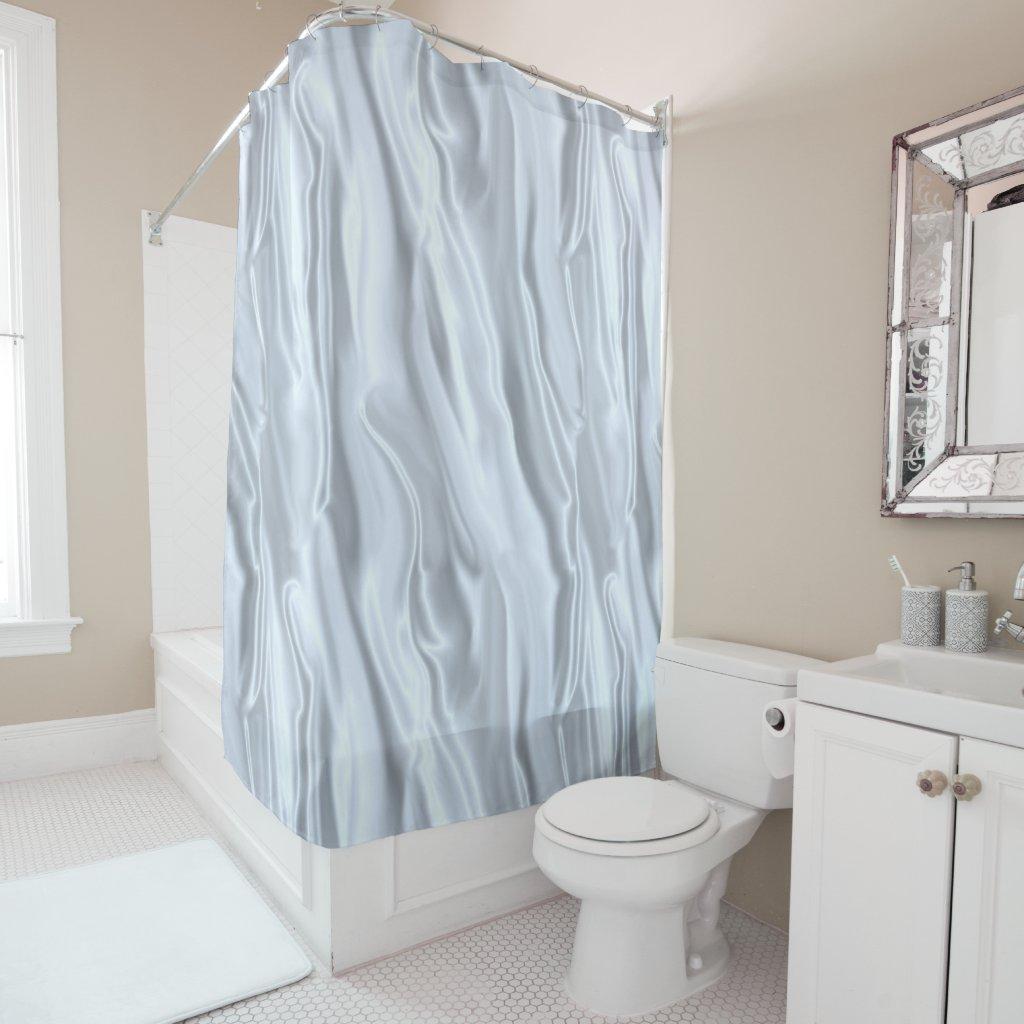 Faux White Silk Shower Curtain