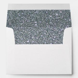 Faux White Silver Glitter Confetti Foil Sparkle Envelope