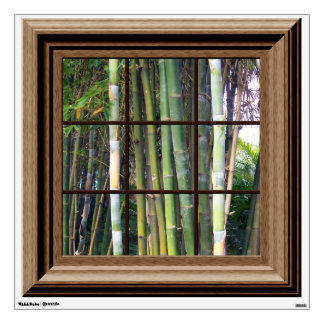 Faux Window Decal Tropical Bamboo Trees Mural