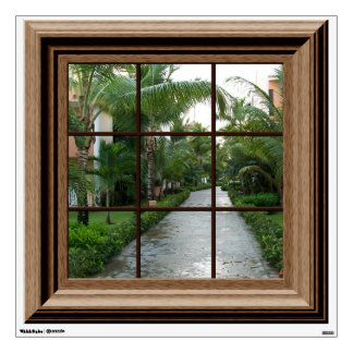 Faux Window Decal Tropical Landscape Wall Mural