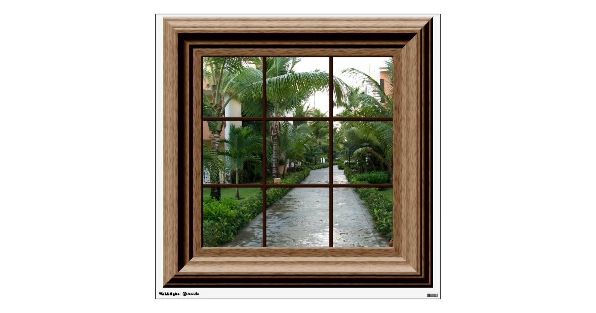 Faux Window Decal Tropical Landscape Wall Mural Zazzle