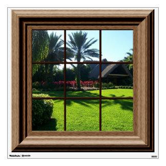 Faux Window Decal Tropical Landscape Wall Mural Wall Sticker