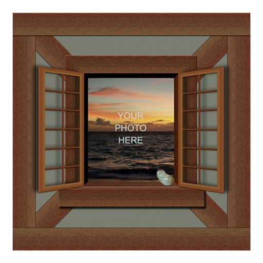 Faux Window Frame Poster Add Your Photo Zazzle