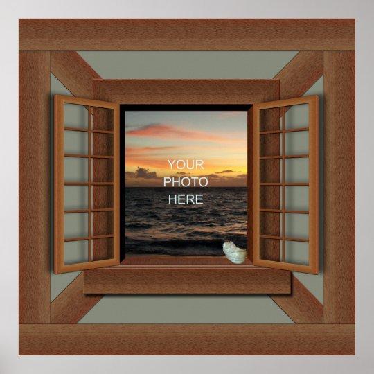 Faux Window Frame Poster Add Your Photo Zazzle Com
