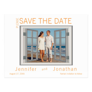 Faux Window Frame Shutters White Save the Date Postcard