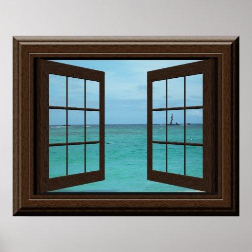 Faux Window Poster Aquamarine Ocean Scene Tranquil Zazzle