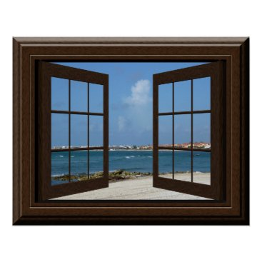 Beach Themed Faux Window Poster Beach Scene Relaxing View