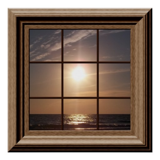 Faux Window Poster Peaceful Sunset Relaxing Zazzle