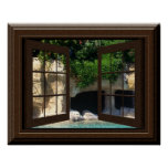 Faux Window Poster Peaceful Water Cave