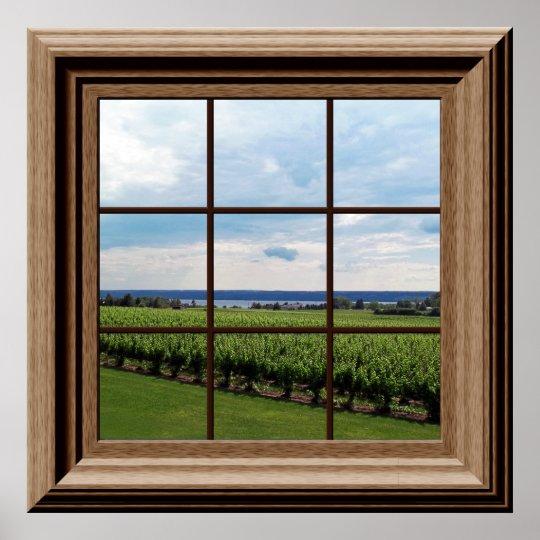 Faux Window Poster Vineyard Scene Wall Art | Zazzle.com