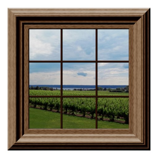 Faux Window Art : Faux window poster vineyard scene wall art zazzle