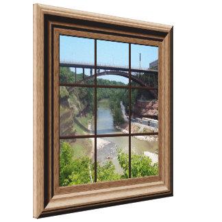 Faux Window Scene Relaxing River Canvas Wall Art