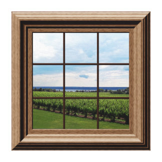 Faux Window Scene Vineyard Peaceful View Canvas Print