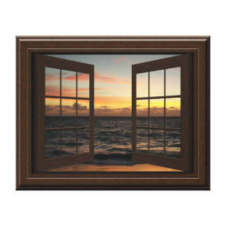 Faux Window Sunset On The Ocean 3D Canvas Wall Art Stretched Canvas Prints