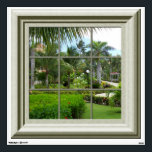 """Faux Window Tropical Landscape Mural Wall Decal<br><div class=""""desc"""">Features a  faux  framed window with a view of tropical landscape.  For more faux window murals visit the rest of this shop.</div>"""