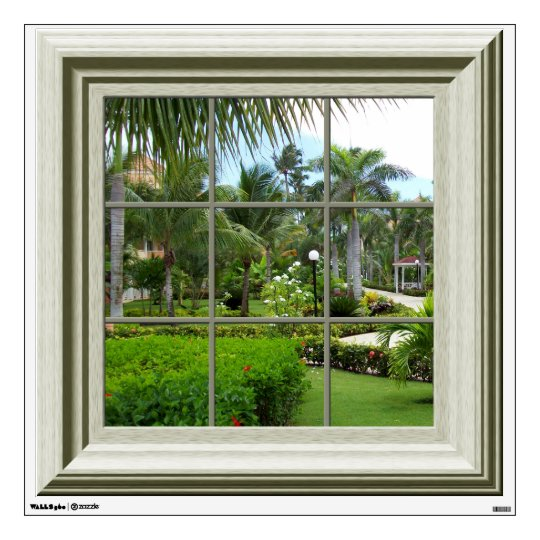 Faux Window Tropical Landscape Mural Wall Decal Zazzle Com