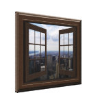 Faux Window View Empire State Building NYC Canvas Canvas Print