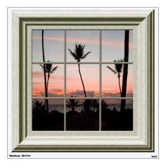 Faux Window View Palm Trees Sunset Beach Room Decal