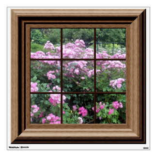 Faux Window View Peaceful Pink Rose Garden Wall Skins