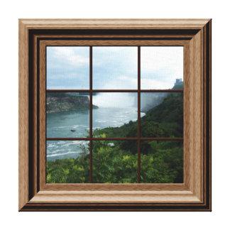 Faux Window View Peaceful Waterfall Niagara Falls Canvas Print