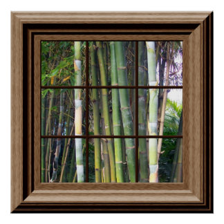 Faux Window View Poster Bamboo Trees Zen