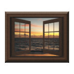 Faux Window View Relaxing Ocean Sunset Pretty Stretched Canvas Prints