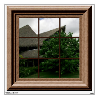 Faux Window View Tropical Landscape Mural Wall Decal
