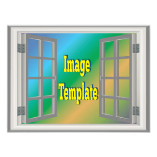 Faux Window White Gray Create Your Own Photo Print