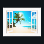"""Faux Window with Beach and Ocean Custom Sizes! Canvas Print<br><div class=""""desc"""">A charming faux window which you can customize the sizes to match your exact dimensions. The photo is very high quality and it was purchased as a Commercial License from Shutterstock. We simply added the window frame. Hope you enjoy it.</div>"""