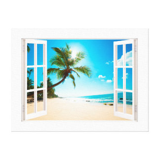Faux Window with Beach and Ocean Custom Sizes! Canvas Print