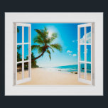 """Faux Window with Beach and Ocean Custom Sizes! Poster<br><div class=""""desc"""">A charming faux window which you can customize the sizes to match your exact dimensions. The photo is very high quality and it was purchased as a Commercial License from Shutterstock. We simply added the window frame. Hope you enjoy it.</div>"""
