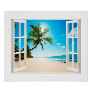Beach Themed Faux Window with Beach and Ocean Custom Sizes! Poster