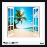 """Faux Window with Beach and Ocean Custom Sizes! Wall Sticker<br><div class=""""desc"""">A charming faux window which you can customize the sizes to match your exact dimensions. The photo is very high quality and it was purchased as a Commercial License from Shutterstock. We simply added the window frame. Hope you enjoy it.</div>"""
