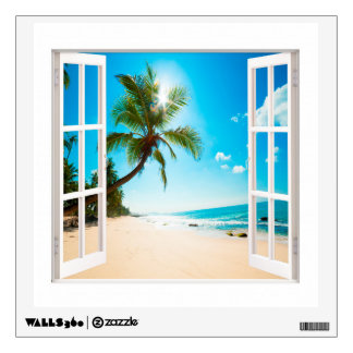 Faux Window With Beach And Ocean Custom Sizes! Wall Sticker