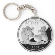 Faux Wisconsin State Quarter Cow Cheese Corn Farm Keychain