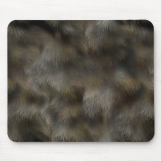 Faux Wolf Fur Hair Silver Gray & Brown Animal skin Mouse Pad