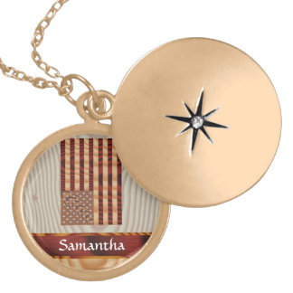 Faux wood American flag Gold Plated Necklace