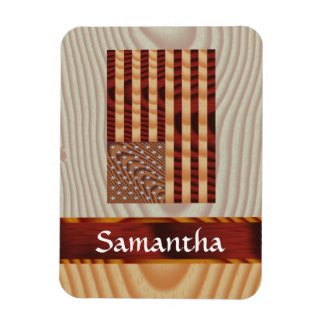 Faux wood American flag Magnet