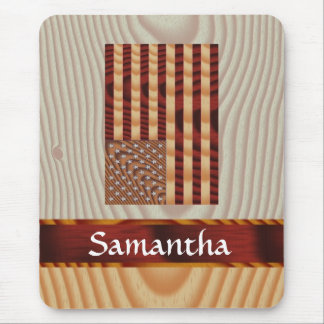 Faux wood American flag Mouse Pad