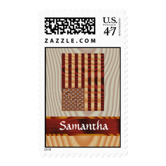 Faux wood American flag Postage
