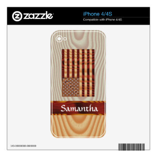 Faux wood American flag Skin For The iPhone 4S