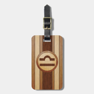 Faux Wood Astrology Libra Symbol Tag For Luggage