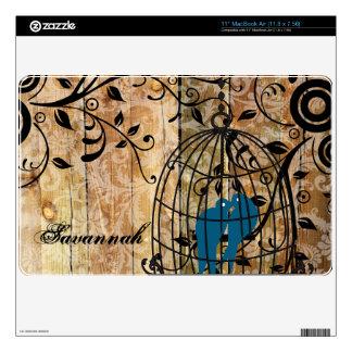 Faux Wood Damask Love Birds MacBook Air Skin